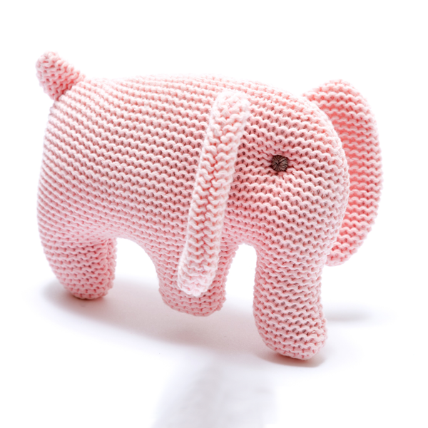 Best Years - Organic Cotton Pale Pink Knitted Elephant Rattle
